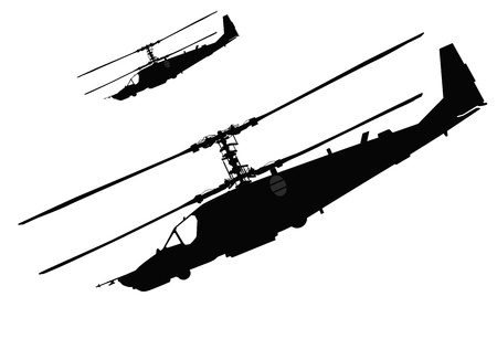 soldier fish: Russian Ka-50 Black Shark  Hokum A  attack helicopter silhouette  Vector