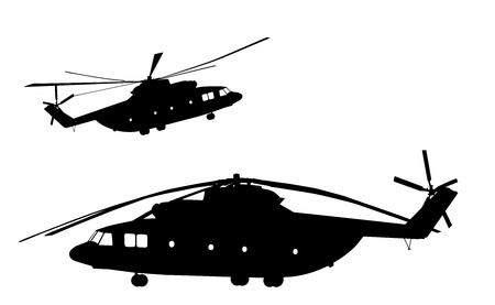 military helicopter: Detailed helicopter silhouettes  Vector on separate layers  Illustration