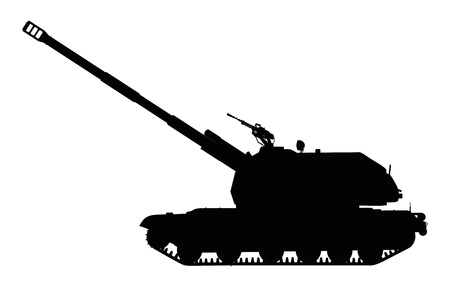cold war: Silhouette of tracked self-propelled howitzer