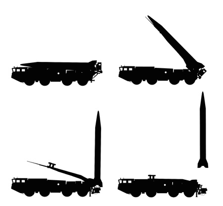 ballistic: Scud missile launcher detailed silhouettes Illustration