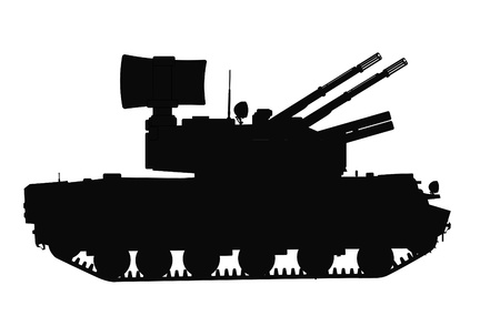 the air attack: Silhouette of tracked self-propelled anti-aircraft weapon Illustration