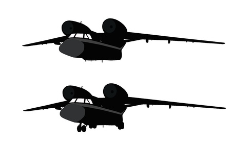 cold war: Transport aircraft detailed silhouettes Illustration