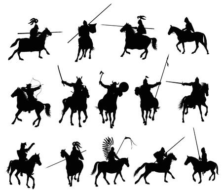 rycerze: Rycerze i wojownicy na koniach średniowieczne szczegółowe sylwetki wektor zestaw Ilustracja