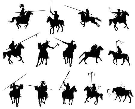 chevalerie: Chevaliers et des guerriers m�di�vaux sur silhouettes � cheval d�taill�es en annexe Vecteur Illustration