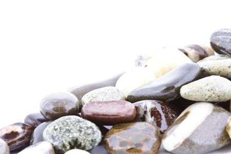 Copy space on wet pebble stones natural background  photo