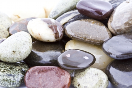 Wet pebble stones natural background  Close-up Stock Photo - 14680727