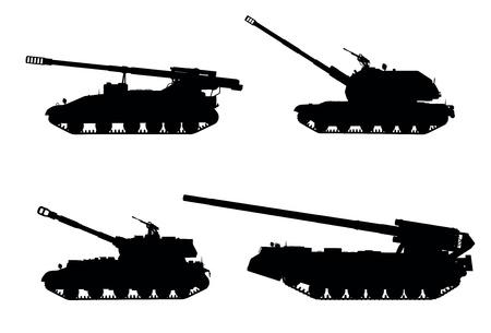 tanque de guerra: Artiller�a orugas autopropulsadas vector siluetas ob�s establecidos