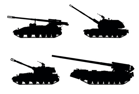cold war: Artillery  Tracked self-propelled howitzer vector silhouettes set