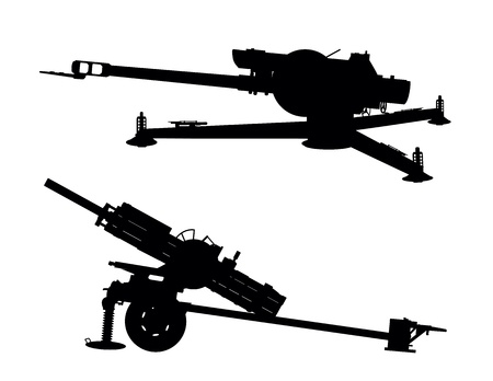 cold war: D-30 howitzer vector silhouette