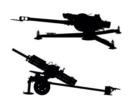 artillery: D-30 howitzer vector silhouette