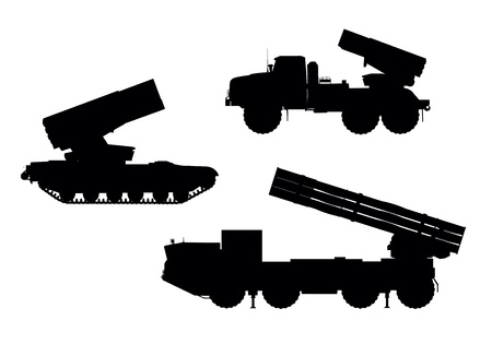 ballistic: Multiple launch rocket system  MLRS  vector silhouettes set  Illustration