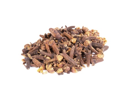 christmas scent: Pile of spice clove isolated on white background