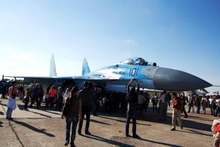 livery: KYIV, UKRAINE - SEPTEMBER 29: Ukrainian Air Force Su-27 during 8th International Aviation Salon AVIASVIT-XXI;September  29, 2012 in Kyiv, Gostomel Airfield, Ukraine
