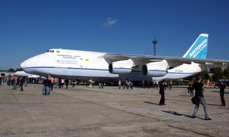 crowd tail: KYIV, UKRAINE - SEPTEMBER 29: Antonov An-124 Ruslan during 8th International Aviation Salon AVIASVIT-XXI;September  29, 2012 in Kyiv, Gostomel Airfield, Ukraine Editorial