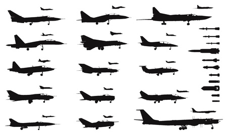 mig: High detailed soviet military aircrafts and weapon set. Vector silhouettes