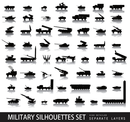 High detailed military silhouettes set