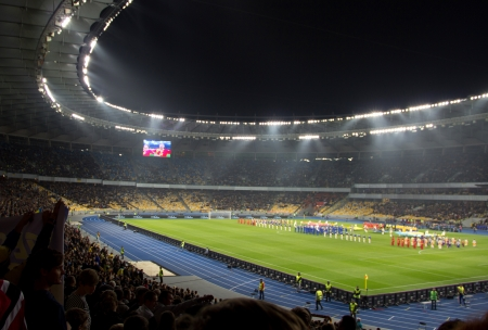 qualifier: KYIV, UKRAINE - OCTOBER 16: Olympiysky Stadium Ukraine vs. Montenegro during World Cup Qualifier on October 16, 2012 , Kyiv, Ukraine