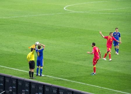 gusev: KYIV, Ucraina - 16 ottobre: ??Ucraina vs Montenegro durante la World Cup Qualifier il 16 ottobre 2012 a Olympiysky Stadium, Kiev, Ucraina