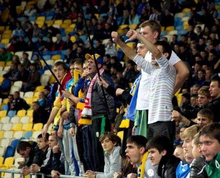 qualifier: KYIV, UKRAINE - OCTOBER 16: Unidentified ukrainian fans during  World Cup Qualifier Ukraine vs. Montenegro on October 16, 2012 in Olympiysky Stadium, Kyiv, Ukraine