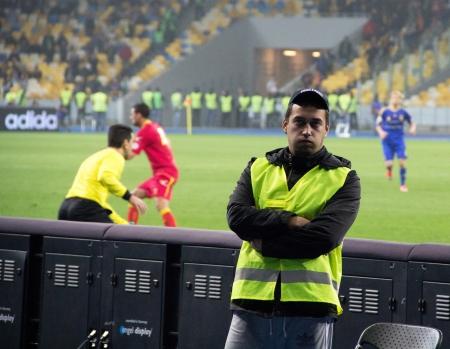 qualifier: KYIV, UKRAINE - OCTOBER 16: Unidentified man during  World Cup Qualifier Ukraine vs. Montenegro on October 16, 2012 in Olympiysky Stadium, Kyiv, Ukraine