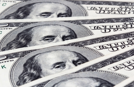 Background with American hundred dollar bills  Close up photo