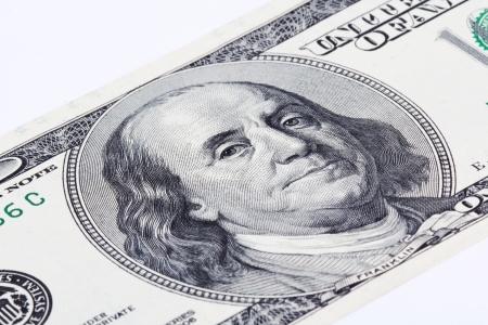 benjamin franklin: Close up of hundred dollar bill Stock Photo