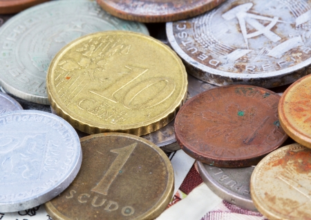 Old and new European coins  Money background photo