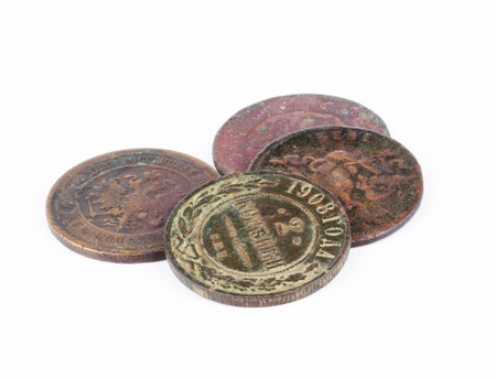 romanov: Old Russian Imperial coins isolated