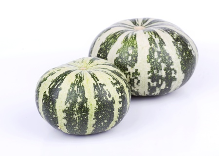 Green striped pumpkins isolated on white  background photo