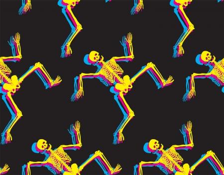 Dancing skeletons seamless pattern  Halloween background Stock Vector - 16031453