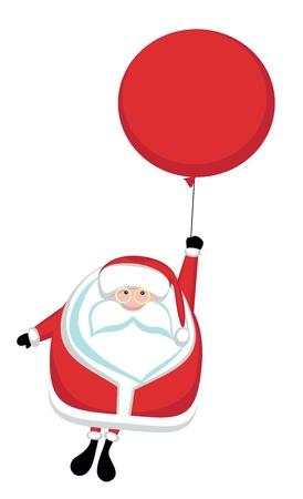 weihnachtsmann lustig: Cartoon Santa fliegen auf roten Ballon
