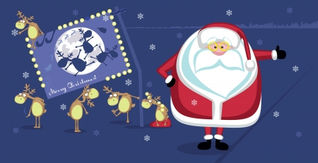 Hitchhiking Santa with reindeers and Christmas billboard Vector