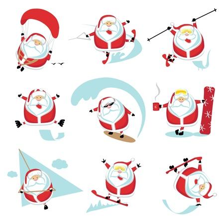 parapente: Cartoon extreme Kerstman set 1. Stock Illustratie