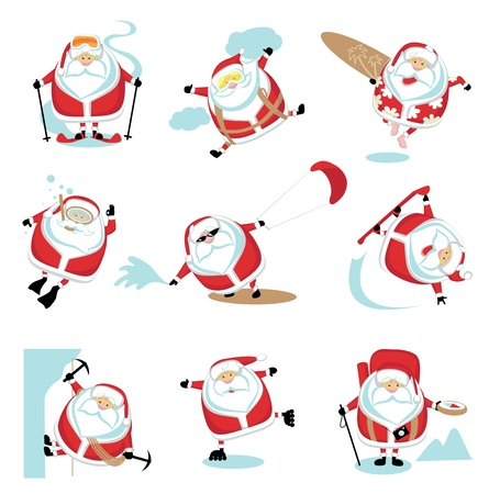 Cartoon extreme Santa  set 2.  Vector