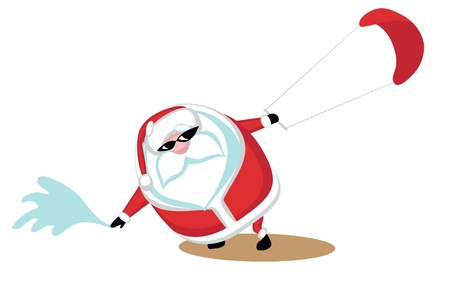 Cartoon  Santa surfkiting.Separate layers Vector