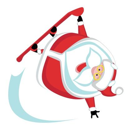 Cartoon  Santa  snowboarding .Separate layers