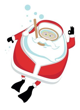 Cartoon  Santa  scubadiving.Separate layers