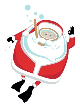 Cartoon  Santa  scubadiving.Separate layers