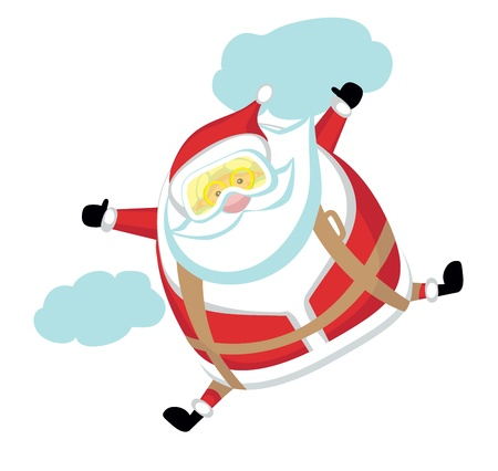 Cartoon  Santa  skydiver.Separate layers Vector