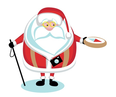 Cartoon  Santa hiking.Separate layers Vector