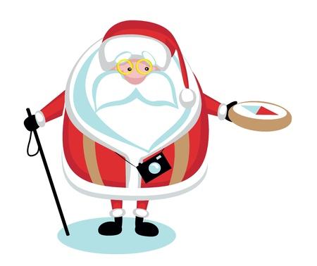 compas: Cartoon  Santa hiking.Separate layers