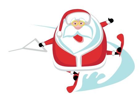 Cartoon  Santa  waterskiing.Separate layers Stock Vector - 16568295