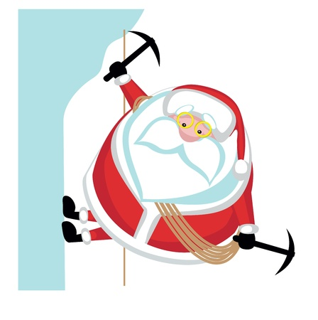 Cartoon  Santa  climbing.Separate layers Vector