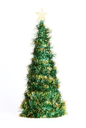 Christmas tree with ornaments isolated on white background photo