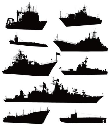 navy ship: Altas siluetas detalladas Buque militar establecido