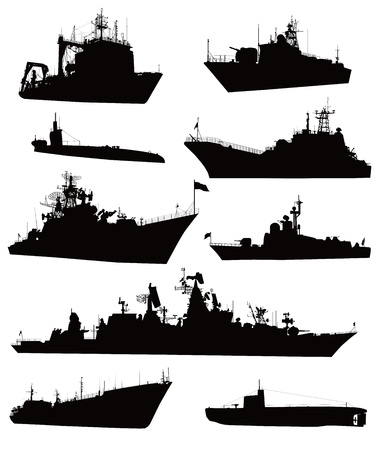 High detailed military ship  silhouettes  set 矢量图像