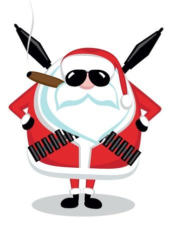 Funny cartoon Santa with ammunition, cigar and sunglasses Illustration