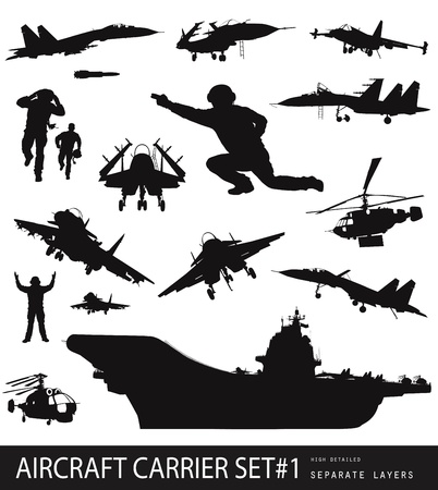 Aircraft carrier high detailed silhouettes set  Vector