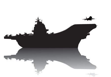 Aircraft carrier vector silhouette with reflection Vector