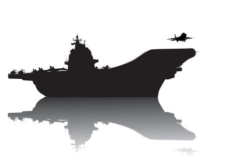 transporteur: Vecteur, silhouette, porte-avions avec la r�flexion